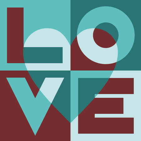 love words: Inscription - love, in the squares with a heart  Illustration