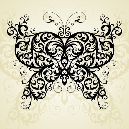 butterfly in floral style Vector