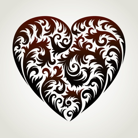 heart in floral style Stock Illustratie