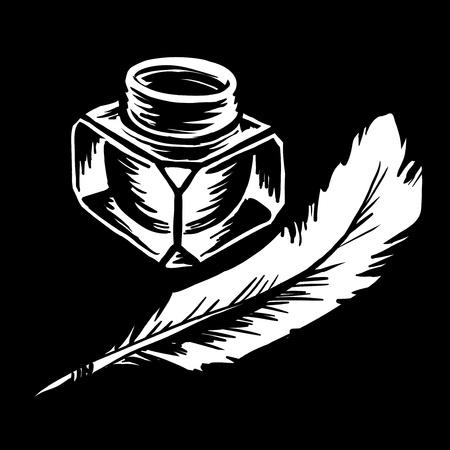 garabatos: tintero con una pluma