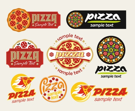the set of pizza signs Stock Illustratie
