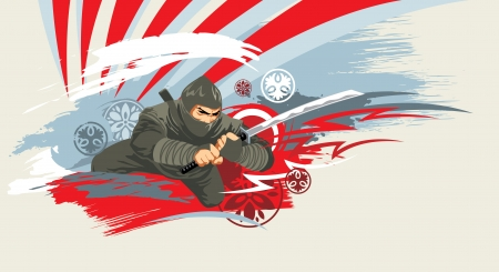 warrior pose: japan vector warrior on grunge background