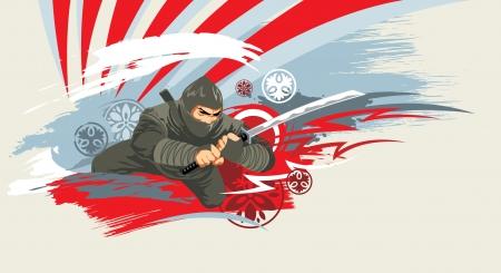 japanese ninja: japan vector warrior on grunge background