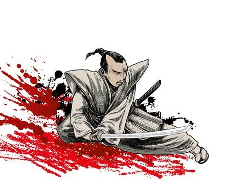 guerrero samurai: Jap�n vector de guerrero en fondo del grunge Vectores