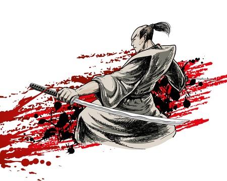 japan vector warrior on grunge background  イラスト・ベクター素材