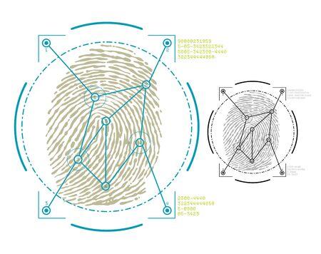 fingermark: vector image of fingerprint security Illustration