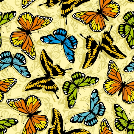 Seamless pattern with stylized  butterflies