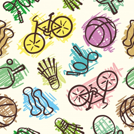 Sports elements  seamless pattern Vector