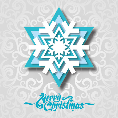 clean cut: Christmas background with paper snowflake vector illustration.