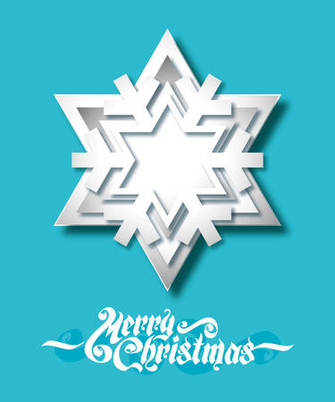 Christmas background with paper snowflake vector illustration.  Vector