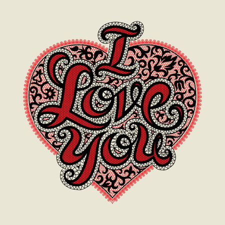 guipure: Vector Valentines day card with a lacy heart and i love you