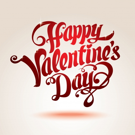 Vector Valentines day card with a red type