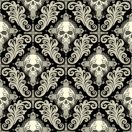 Seamless background from a floral ornament with skulls and cross, Fashionable modern wallpaper or textile