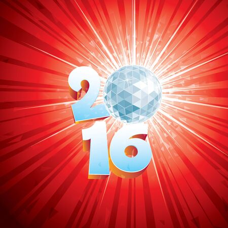 event party festive: 2016 New Year Disco Ball with reflections.