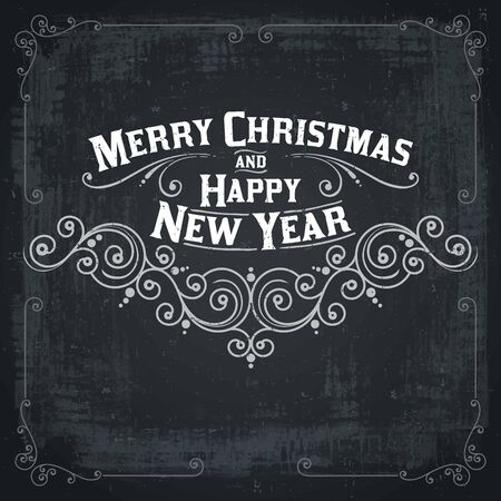 inscription: MERRY CHRISTMAS hand lettering, vintage vector Illustration