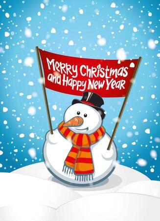 bonhomme de neige: Carte de voeux avec des bonhommes de neige et des chutes de neige