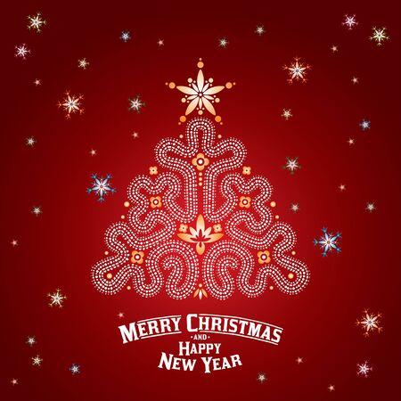 christmas tree illustration: Christmas card. Christmas ornament tree. Vector Illustration Illustration