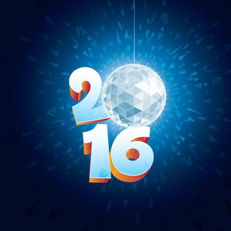 glitter ball: 2016 New Year Disco Ball with reflections.