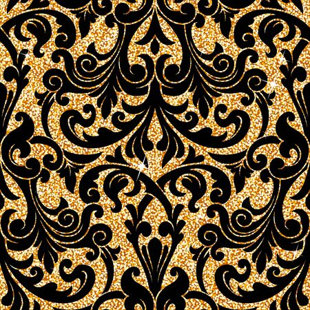 pattern antique: Seamless background from a floral golden ornament, Fashionable modern wallpaper or textile Illustration