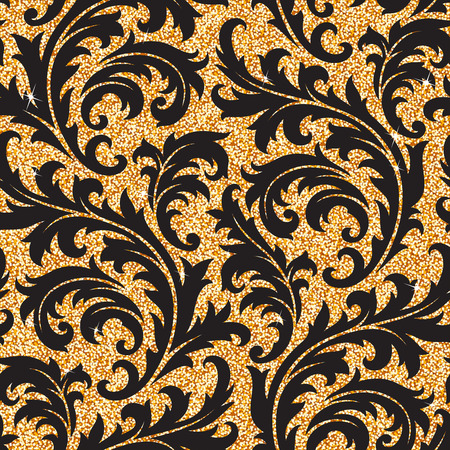 wallpaper floral: Seamless background from a floral golden ornament, Fashionable modern wallpaper or textile Illustration
