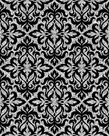 pattern antique: Seamless background from a floral silver ornament, Fashionable modern wallpaper or textile Illustration