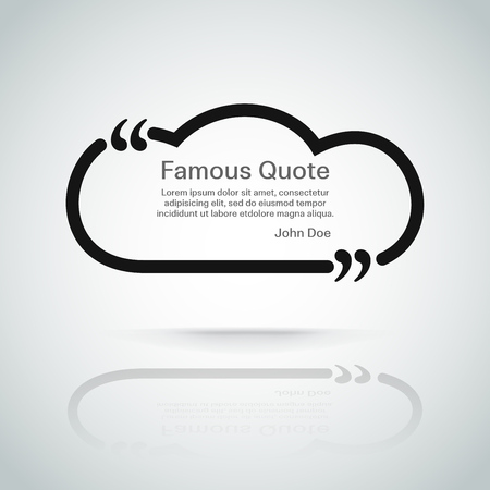 text frame: rectangle quote box with your text, quotation marks. Eps 10 vector illustration