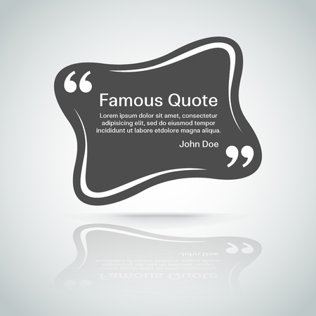 marks: rectangle quote box with your text, quotation marks.   Illustration