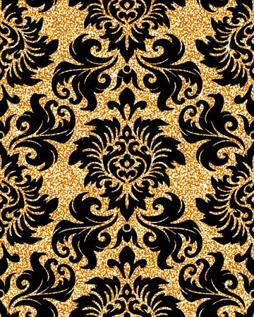 glistening: Seamless background from a floral golden ornament, Fashionable modern wallpaper or textile Illustration