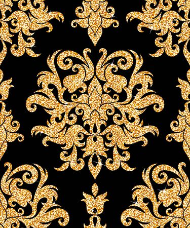 antique wallpaper: Seamless background from a floral golden ornament, Fashionable modern wallpaper or textile Illustration