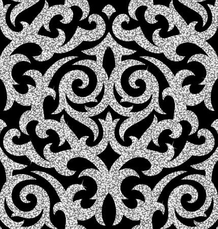 glistening: Seamless background from a floral silver ornament, Fashionable modern wallpaper or textile Illustration