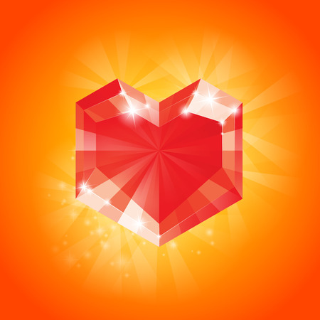 diamond heart: Big Red diamond Heart for Valentines day and more, Vector Illustration