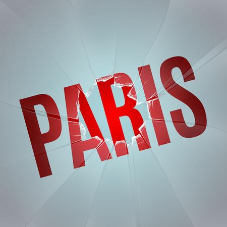 cristal roto: inscripción PARIS bajo el cristal con un agujero de un tiro Vectores