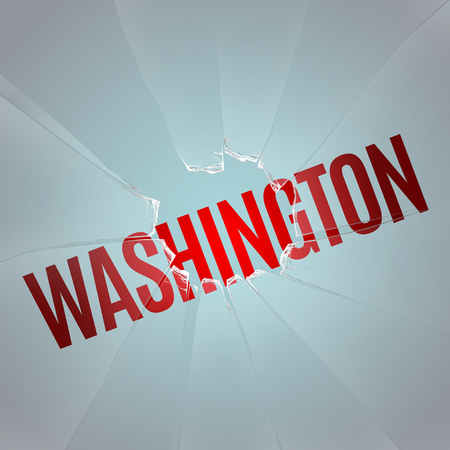 slit: inscription WASHINGTON under the glass with a hole from a shot