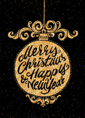 unique: Holiday greeting card. Unique hand drawn Merry Christmas and Happy New Year lettering in a Christmas ball. Vector typography.