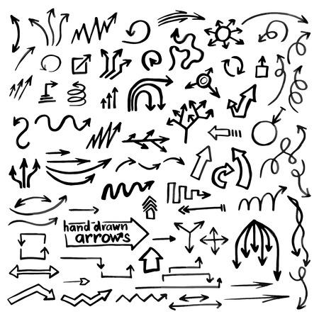 flecha direccion: Mano flechas dibujadas simples conjunto formado en el vector, hermoso negocio de elemento de dise�o