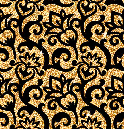 tile pattern: Seamless background from a floral golden ornament, Fashionable modern wallpaper or textile Illustration