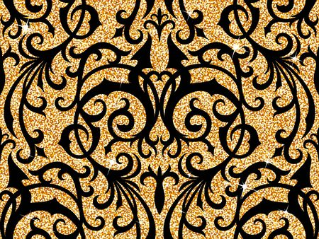 royal background: Seamless background from a floral golden ornament, Fashionable modern wallpaper or textile Illustration