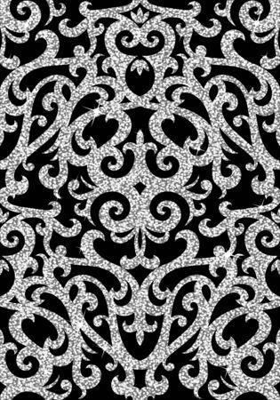 textil: Fondo inconsútil de un ornamento de plata floral, papel pintado moderno de moda o textil Vectores