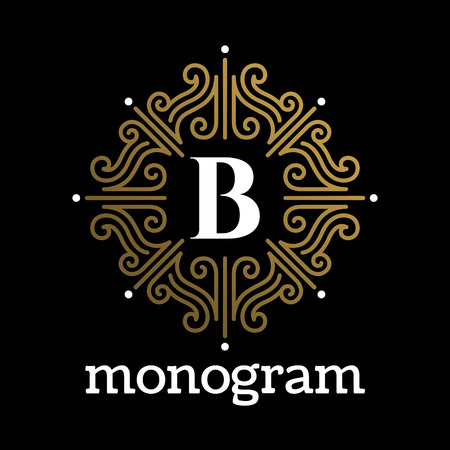 boutique hotel: Vintage monogram frame template flourishes calligraphic elegant ornament lines. Business sign, identity for Restaurant, Royalty, Boutique, Hotel, Heraldic, Jewelry, Fashion and other vector illustration