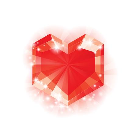 coeur diamant: Big Heart Red Diamond pour Valentines jour et plus, Vector Illustration