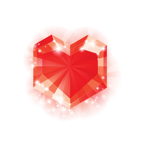 red diamond: Big Red diamond Heart for Valentines day and more, Vector Illustration
