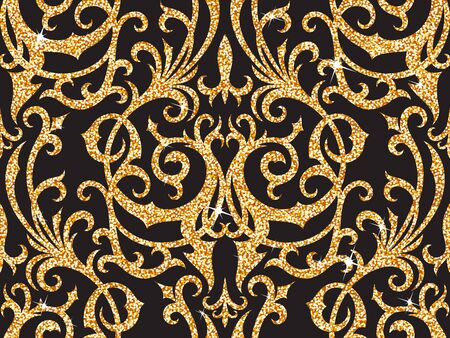 sheen: Seamless background from a floral golden ornament, Fashionable modern wallpaper or textile Illustration