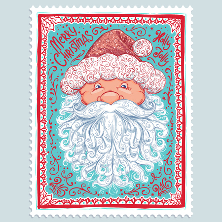 Vintage Christmas Card. Vector illustration with Santa Claus