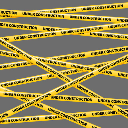 police line do not cross: wector yellow tape, warning of danger, UNDER COSTRUCTION