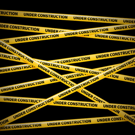 crime scene do not cross: wector yellow tape, warning of danger, UNDER COSTRUCTION