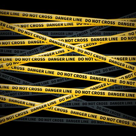 police line do not cross: wector yellow tape, warning of danger, do not cross