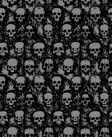 rip: vector seamless pattern of hand drawn skulls Illustration