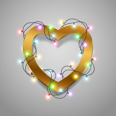bright lights: Valentines heart made of led lights on the background