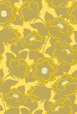 soulful: Seamless floral pattern with vector flowers. Vector illustration. Illustration