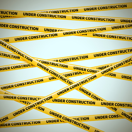 police tape: wector yellow tape, warning of danger, UNDER COSTRUCTION